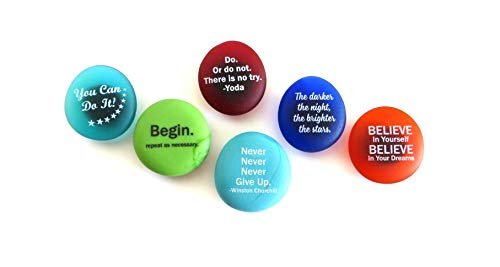 Lifeforce Glass Inspiration Magnets: Encouragement and Motivation on Frosted Sea Glass Stones, Attached to Super-Strong Magnets Set I