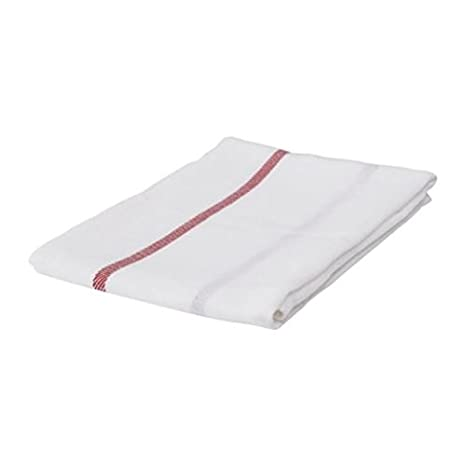 Ikea Dish Towel 101.009.09, Pack of 20, White, Red