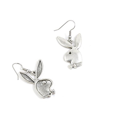 1 Pairs Jewelry Making Antique Silver Tone Earring Supplies Hooks Findings Charms X6JS7 Playboy Rabbit