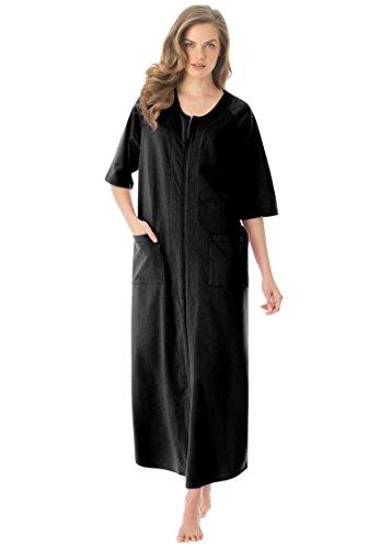 Dreams & Co.. Women's Plus Size Long French Terry Robe Black,2X