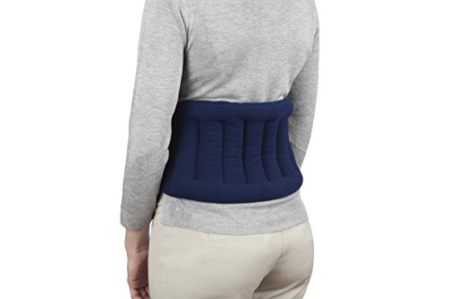 "Sunny Bay Lower Back and Shoulder Joint Heat Wrap with Strap, 10""x18"" Heat Pad, Microwave Hot/Cold Pad, Reusable, Portable, Navy Blue"
