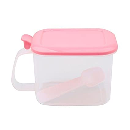 eDealMax plástico Domésticos de Cocina rectangular solo compartimiento sal condimento caja de color rosa