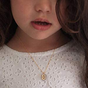 UHIBROSNecklaces for Women, 14K Gold Plated Hexagon Initial Necklaces, Dainty Personalized Alphabet Letter Choker with Adjustable Chain Pendant, Jewelry Gift for Women, Girls or Men-M