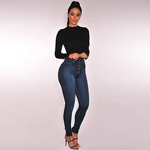 Sottile donne Skinny Jeans Donna Alta Moda Forti Lunghezza Vitello Vita A Denim Sexy Lqqstore Nero Taglie Pantaloni Stretch jeans OETq88