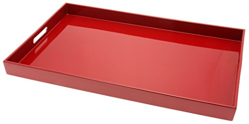 Kotobuki Rectangular Lacquer Serving Tray, 18-3/4-Inch, Red (Tray Red)