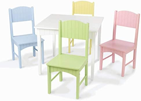 B0009H754I KidKraft Nantucket Kid's Wooden Table & 4 Chairs Set with Wainscoting Detail - Pastel 31skQUerGCL.