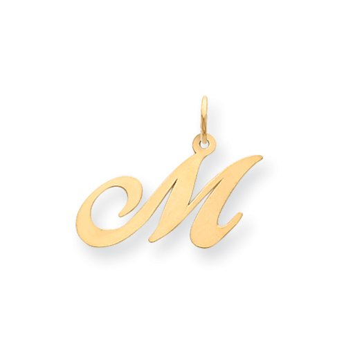 14k Yellow Gold, Ella Collection Medium Fancy Script Initial M Pendant 14k Yellow Gold Letter
