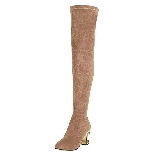 HCBYJ High Das Damen Lederstiefel Heels über Mode Knie Spitze und Heels Herbst Stiefel Winter High 8qwBWrHx8