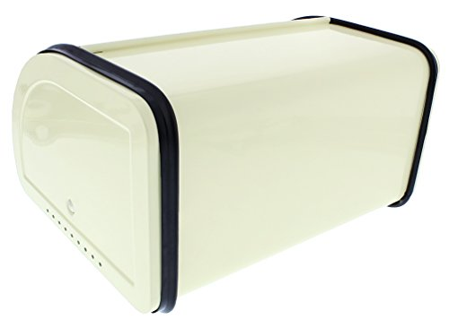 Juvale Bread Box For Kitchen Counter - Stainless Steel Bread Bin Storage Container with Roll Top Lid for Loaves, Pastries, and More - Retro/Vintage Inspired Design, Cream, 10 x 8.5 x 5.5 Inches by Juvale (Image #5)