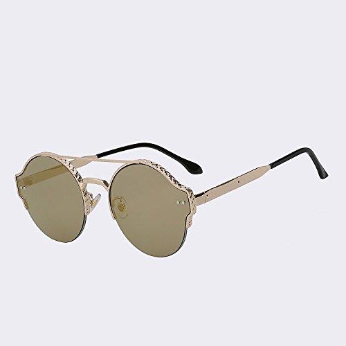 de en moda mirror Marca Vigas alta hombres nuevo gafas plata TIANLIANG04 lens espejo diseño lentes de de de sol de remache calidad mujer vintage Gold gafas metal UV400 de doble Yfnq6g