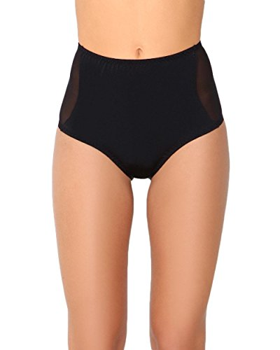 Shorts Bottoms Shorts (iHeartRaves Black Electro High Waisted Mesh Booty Shorts Bottoms (Medium/Large))