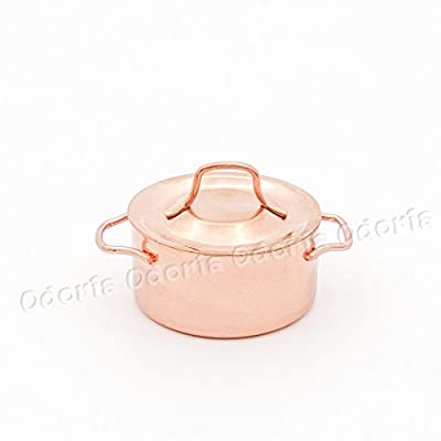 Odoria 1:12 Miniature Copper Stockpot with Lid Dollhouse Kitchen Accessories: Toys & Games