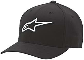 Alpinestars Men's Curved Bill Structured Crown Flex Back 3D Embroidered Logo Flexfit Hat