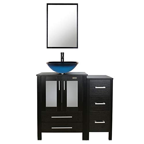 eclife 36'' Bathroom Vanity Sink Combo Black W/Side Cabinet Vanity Ocean Blue -