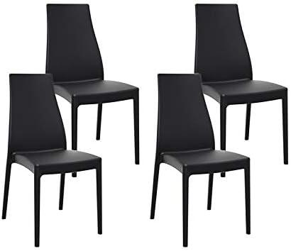resol set de 4 sillas de diseño Miranda para interior, exterior, jardín - color negro: Amazon.es: Hogar