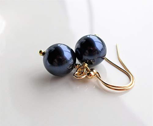 Dark Navy Blue Swarovski Pearl Gold Drop ()