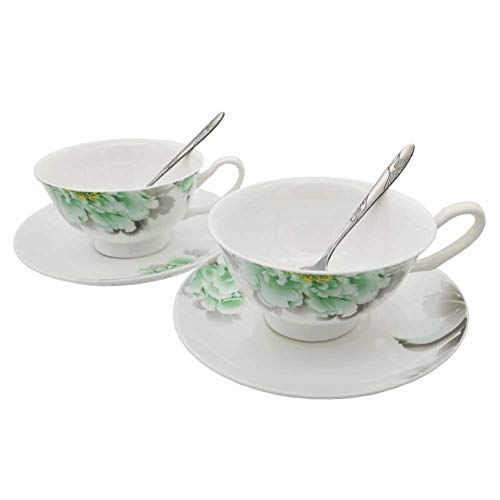 FINECASA White Bone China 6.8 Oz Coffee/Tea 2 cup 2 saucer 2 spoon Green Peony Series Teacups Set