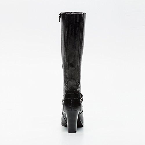 Femmes Hautes Femme Bottes Hautes Bottes en Bottes Noir Hautes Cuir Zerimar Talons Cuir cWw0OY1Yq