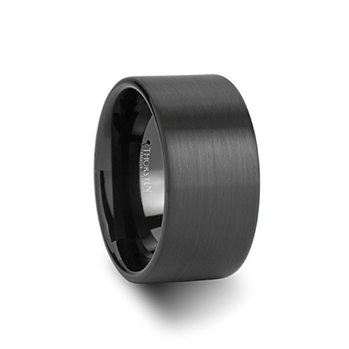 BALTIMORE Flat Style Black Tungsten Carbide Ring with Brushed Finish - 12 mm - FREE Engraving, FREE Expedited Shipping & FREE