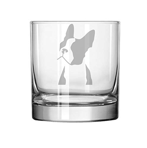 (11 oz Rocks Whiskey Highball Boston Terrier Face)