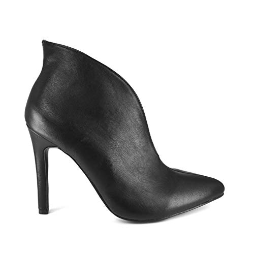 - Anne Michelle Womens Pointed Toe Plunge Cut-Out Stiletto High Heel Ankle Booties Short Boots (10, Black)