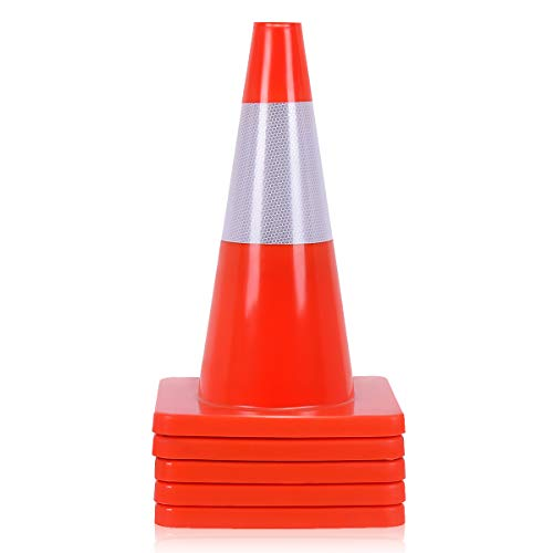 Goplus 5PCS Traffic Cones 18'' PVC Safety Road Parking Cones Driving Construction Cones Orange with 6'' Reflective Strips Collar by Goplus (Image #2)