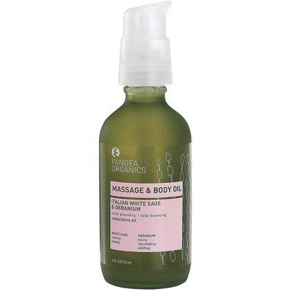(Pangea Organics Massage & Body Oil, Italian White Sage, Geranium & Yarrow, 4-Ounce Box)