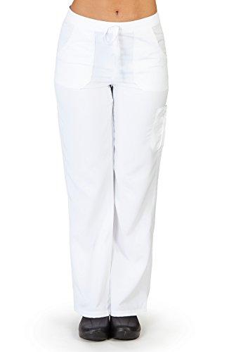 Ultra Soft Brand Scrubs - Premium Womens Junior Fit Cargo Pocket Scrub Pant, White 38492-XX-Large