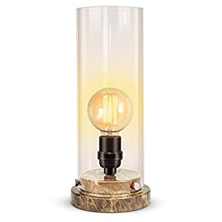 KAYBELE Table Lamp with Marble Base, Vintage Uplight Lamp 12'' High Round Glass Cylinder Shade LED Edison Bulb Not Included for Living Room Bedroom Dining Room Coffee Table-360 Lighting