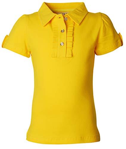 Ipuang Little Girl Short Sleeve Cotton Ruffle Polo Shirt Top 14 Yellow ()