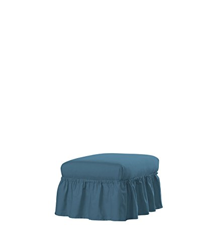 Serta | Relaxed Fit Durable Woven Linen Canvas Furniture Slipcover (Ruffle Ottoman, Indigo)