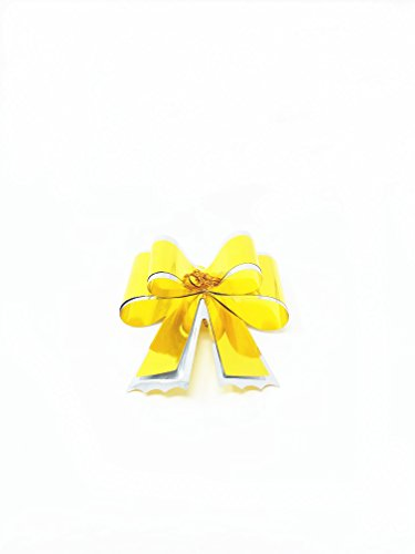 Singular Metallizing Paper Corp. 100 pc Metallic Gift Pull Bow For Christmas,Birthday and Party (Small 2'', Yellow) by The Wrap It