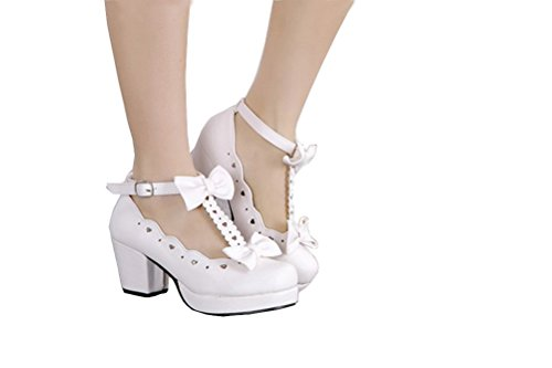 Nuoqi Sweet Lolita Cosplay Round Toe Tea Platform High Chunky Heel Ankle-High Shoes