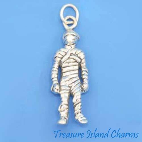 Mummy Monster Halloween 3D .925 Solid Sterling Silver Charm -