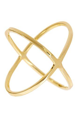 Sterling Forever Polished 14K Gold Vermeil Criss Cross Ring Size : ()