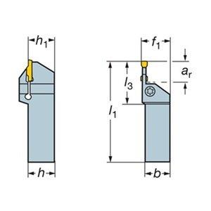 0.51 Maximum Depth of Cut Sandvik Coromant LF123G20-1616B Steel CoroCut 1-2 Shank Tool for Parting and Grooving Holder