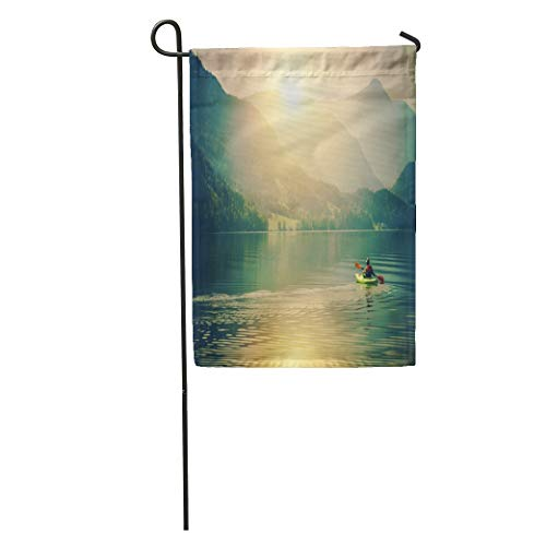 Semtomn Garden Flag Lake Kayak Touring Summer Recreations and Sport Senior Sportsman Home Yard House Decor Barnner Outdoor Stand 28x40 Inches ()