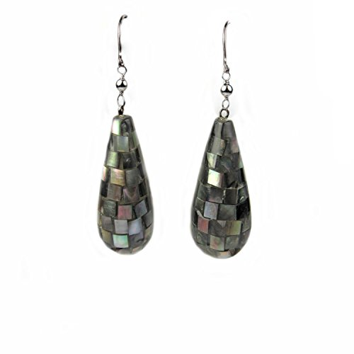 Regalia Black Mother of Pearl Mosaic Teardrop Dangle Earrings. Assembled in The U.S.A. Black Mother Of Pearl Ring