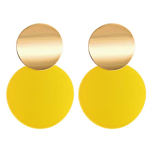 LILIE&WHITE Yellow Round Curved Discs Drop Earrings with Matte Paint for Girl Jewelry, Hypoallergenic Post - Drop Disc Round