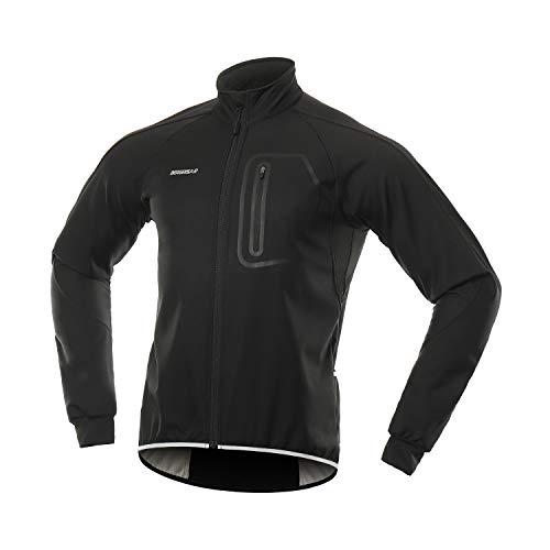 BERGRISAR Men's Winter Softshell Cycling Jacket Windbreaker Water Resistant Thermal Fleece Bike Outerwear BG011 Black Size Large