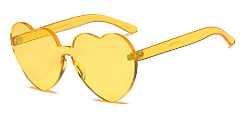 Heart Shape Rimless Sunglasses One Piece Transparent Glasses Fashion Candy - Yellow Shades Glasses