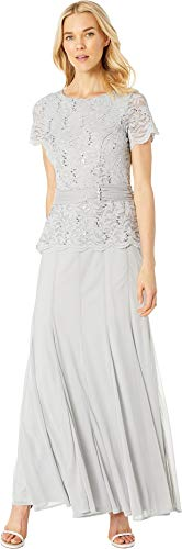 Marina Womens Short Sleeve Mock Two-Piece Gown w/Lace Bodice, Solid Skirt Silver 14