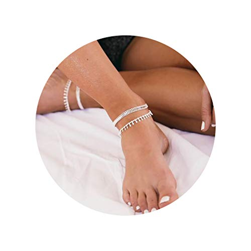 LOYATA Bohemia Layered Anklets, Silver Plated Dainty Wide Chains Ankle Bracelets Tassel Boho Beads Foot Jewelry for Women