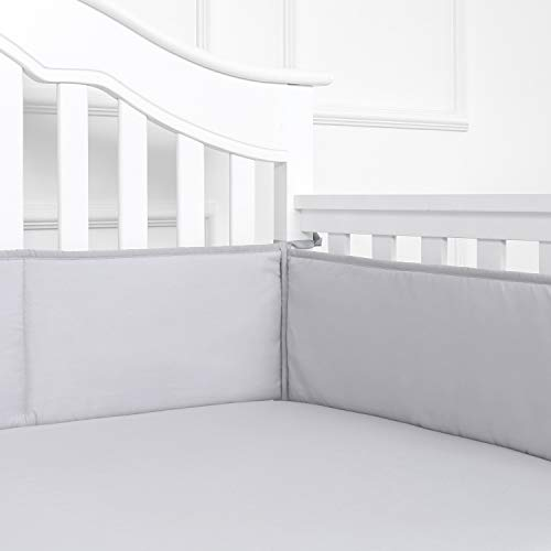 TILLYOU Baby Safe Crib Bumper Pads for Standard Cribs Machine Washable Padded Crib Liner Thick Padding for Nursery Bed 100% Silky Soft Microfiber Polyester Protector de Cuna, 4 Piece/Gray]()