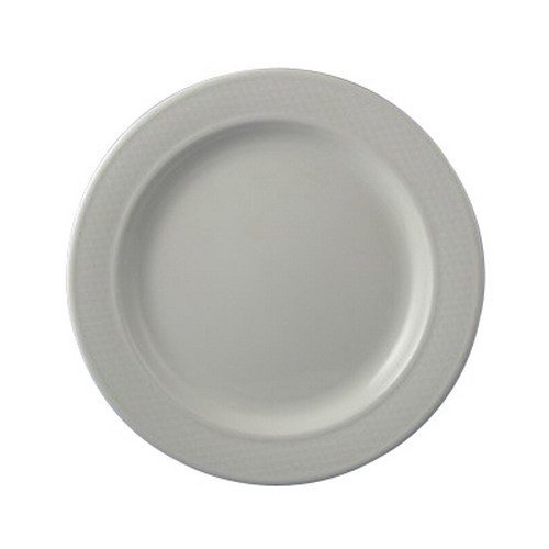 Dudson Damask Vitrified China Round Bread and Butter Plate Green Trim Band, 6.5
