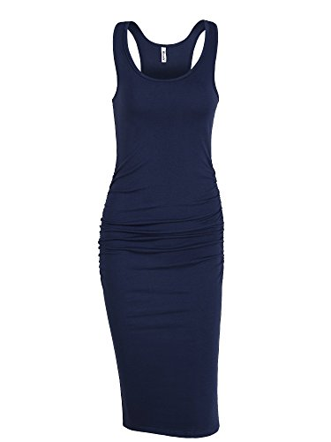 Missufe Women's Sleeveless Racerback Tank Bodycon Sundress Knee Length Ruched Fitted Basic Dress (Navy Blue, (Blue Sundress Dress)