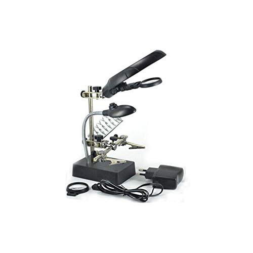 Other 2724539326728 Helping Hand Magnifier With Soldering Iron Stand Led Crocodile Clips Ac/dc Power