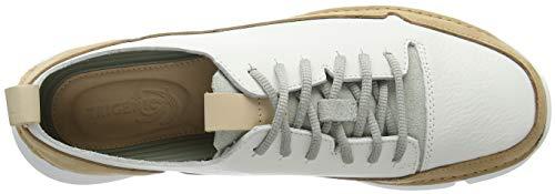 Clarks Leather White Spark Damen Weiß Tri Sneaker YZfYqrw