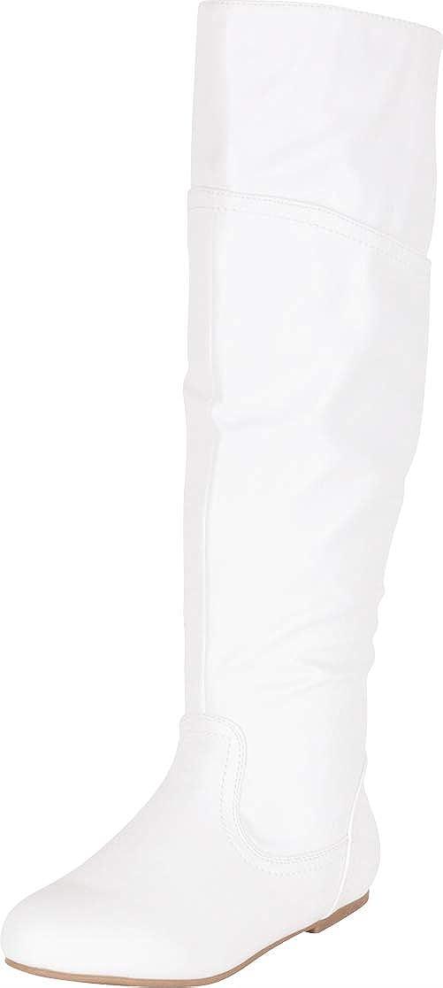 White Pu Cambridge Select Women's Back Corset Lace Flat Knee-High Boot