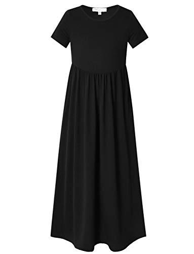 Perfashion Girl Maxi Dresses 7-16 Summer Short Sleeve Pleated Crew Neck Solid Black Dress ()